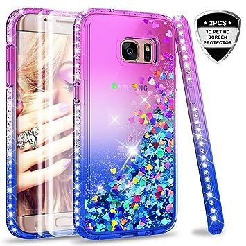 LeYi Compatible with Funda Samsung Galaxy S7 Edge Silicona Purpurina Carcasa con [2-Unidades] 3D Curvo Pet Pantalla,Transparente Cristal Bumper ...