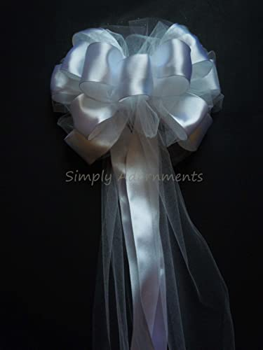 white tulle wedding bow white satin tulle church pew bows aisle decorations white bridal shower party