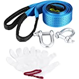 Qiilu Car Trailer Tow Rope Road Recovery Towing Cable with Reflective Strip Hooks 8 Tons 5 Meters(3meter)