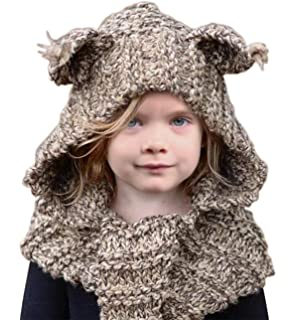 Sumolux Winter Kids Warm Cat Animal Hats Knitted Coif Hood Scarf Beanies  for Autumn Winter 282058689a49