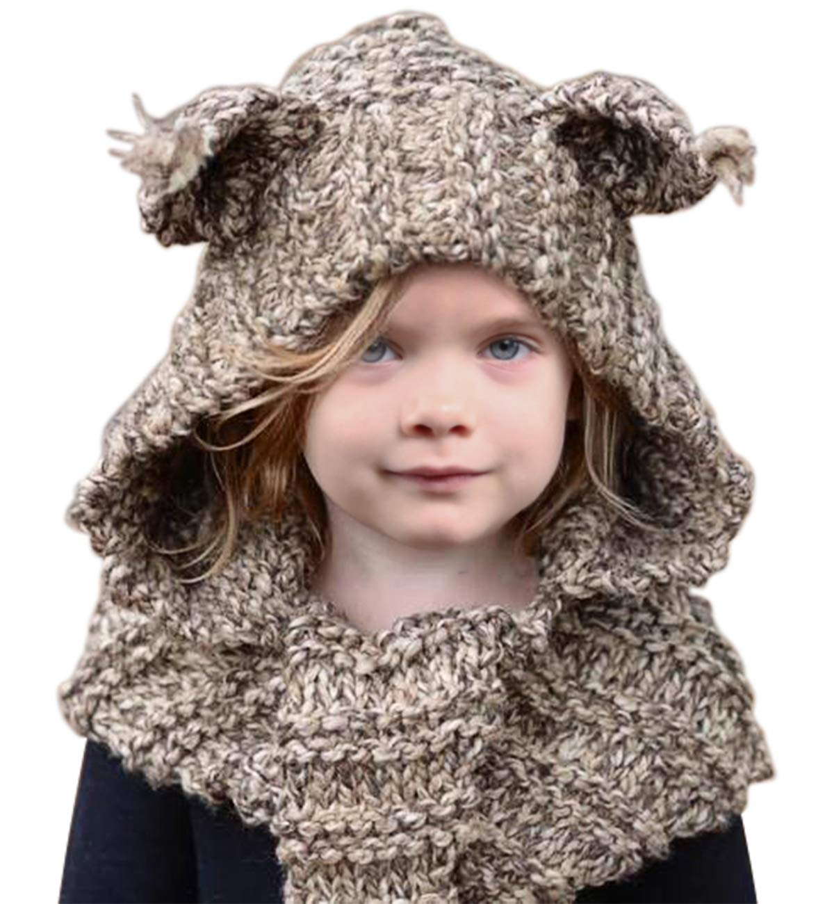 6b07a73059bac0 Amazon.com: Sumolux Winter Kids Warm Cat Animal Hats Knitted Coif Hood  Scarf Beanies for Autumn Winter (Coffee Fox Ears (3-16 Years Old)): Clothing