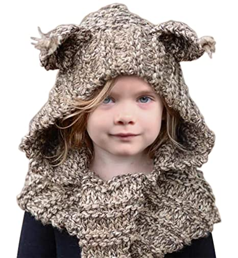 12b3c137c Sumolux Winter Kids Warm Cat Animal Hats Knitted Coif Hood Scarf Beanies  for Autumn Winter