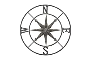 "Creative Co-op Decorative Round Metal Compass Wall Décor, 41"", Blue-Grey"