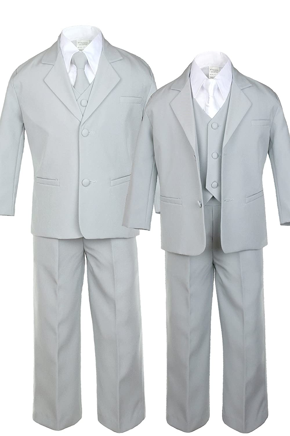 6pc Boy Gray Vest Formal Tuxedo Suits with Satin White Necktie Baby to Teen