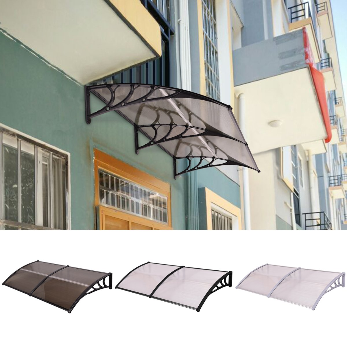 Costway Door Canopy Awning Shelter Front Back Porch Window Roof Sun Shade Outdoor 100 x 100CM/200 x 100CM (200 x 100 CM, Clear + Gray)