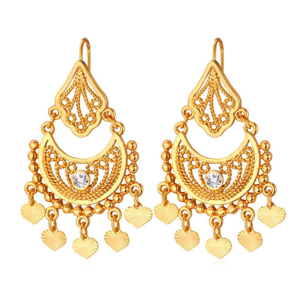 U7 Gold/Platinum Plated Drop Earring Half Moon & Tinkel Bell Love Classic Dangle Earrings U7 Jewelry U7 E6441K