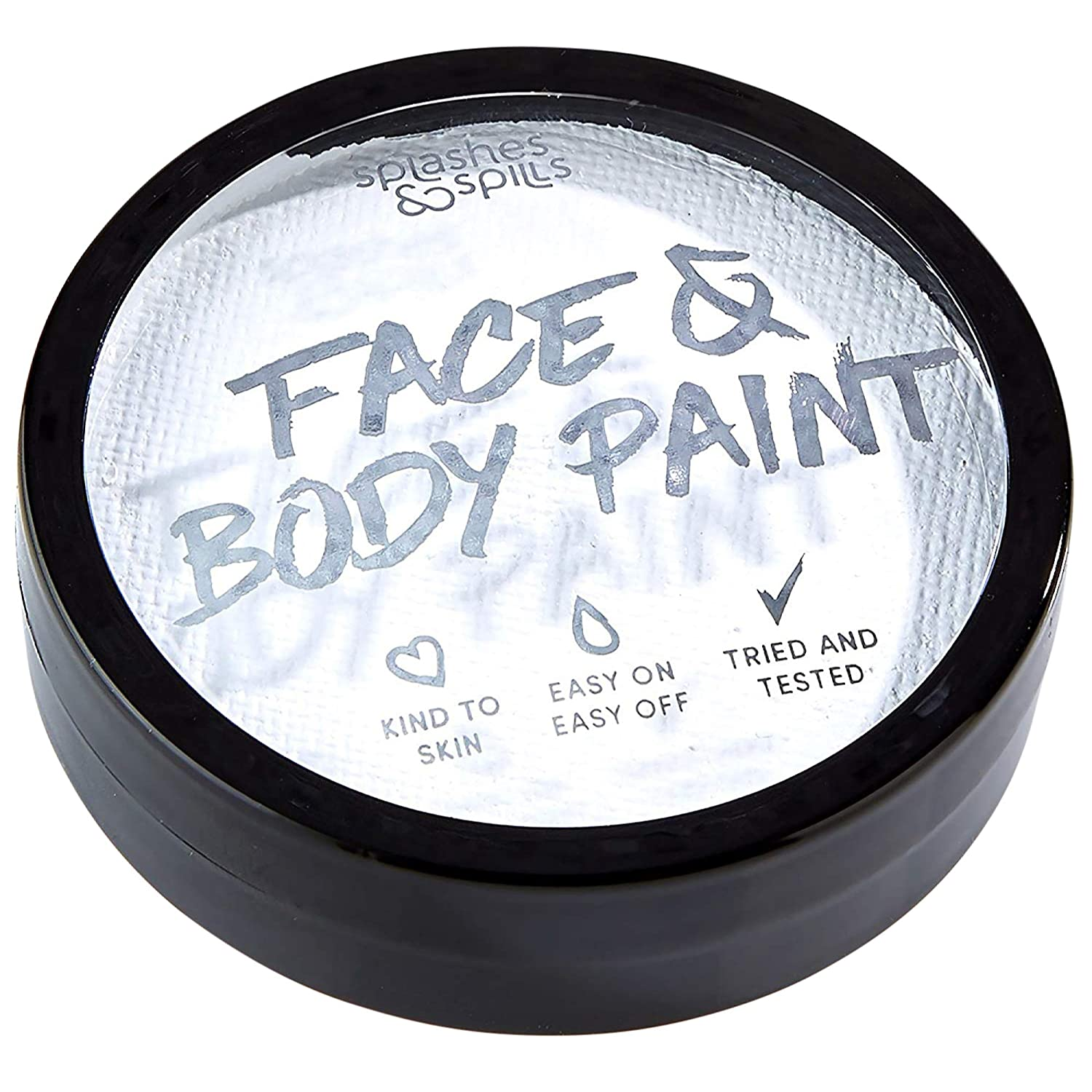 Water Activated Face and Body Paint - White, 18g Cake Tub - Pretend Costume and Dress Up Makeup by Splashes & Spills