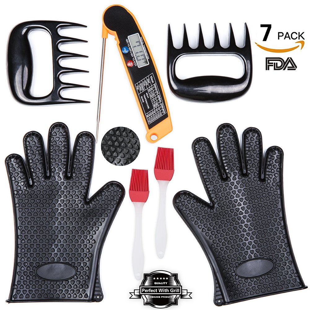 Riigoo BBQ Tools Set, 2 Silicone Oven Glove, 1 Heat Resistant Digital Cooking Thermometer, 2 Meat Shredder Claws, 2 Silicone Basting Brush, 7-Piece BBQ Grill Tools Set