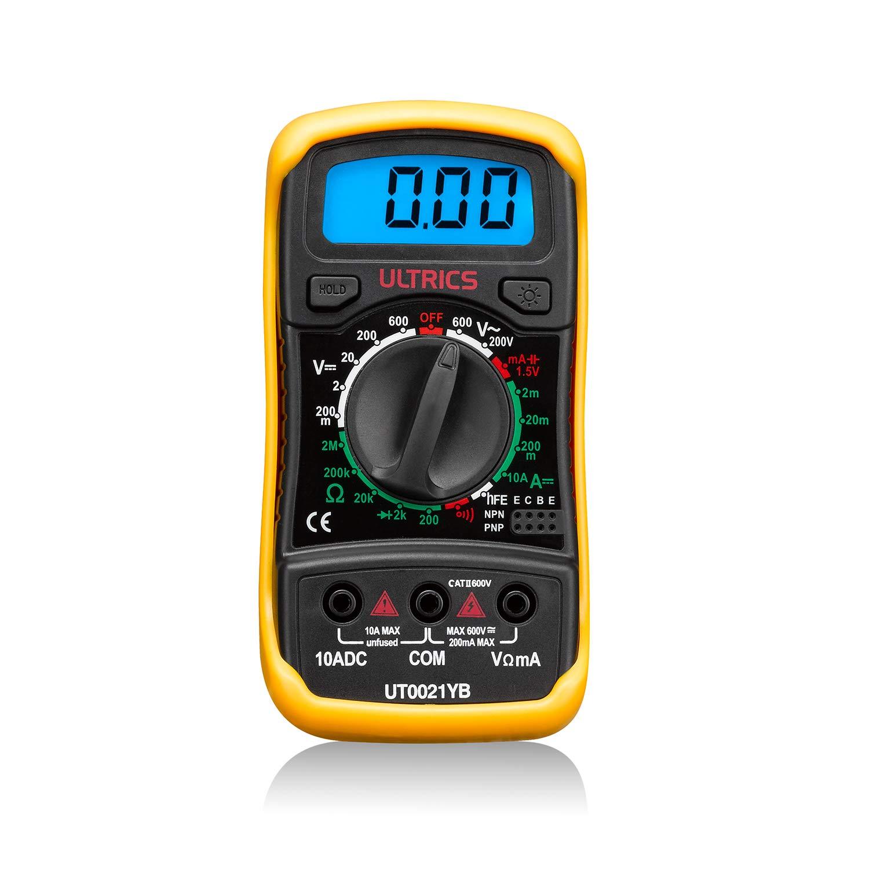 ULTRICS FBA-0021-YB - Multimetro Digital, Profesional Voltimetro Amperimetro, Tester Ohmímetro AC DC Circuit Diode, Amarillo y negro: Amazon.es: Industria, ...