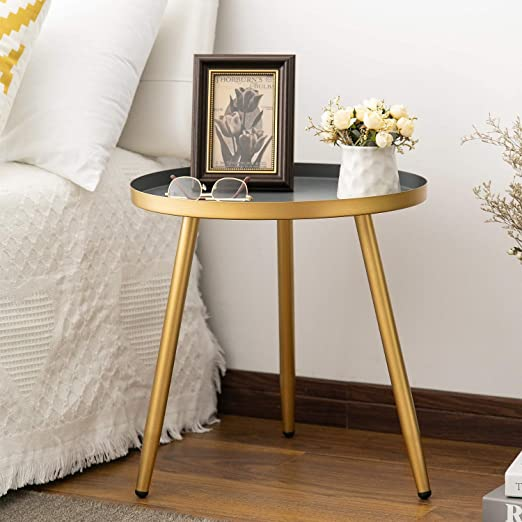 Round Side Table, Metal End Table, Nightstand/Small Tables for Living Room,  Accent Tables, Side Table for Small Spaces,Gold & Gray by Aojezor