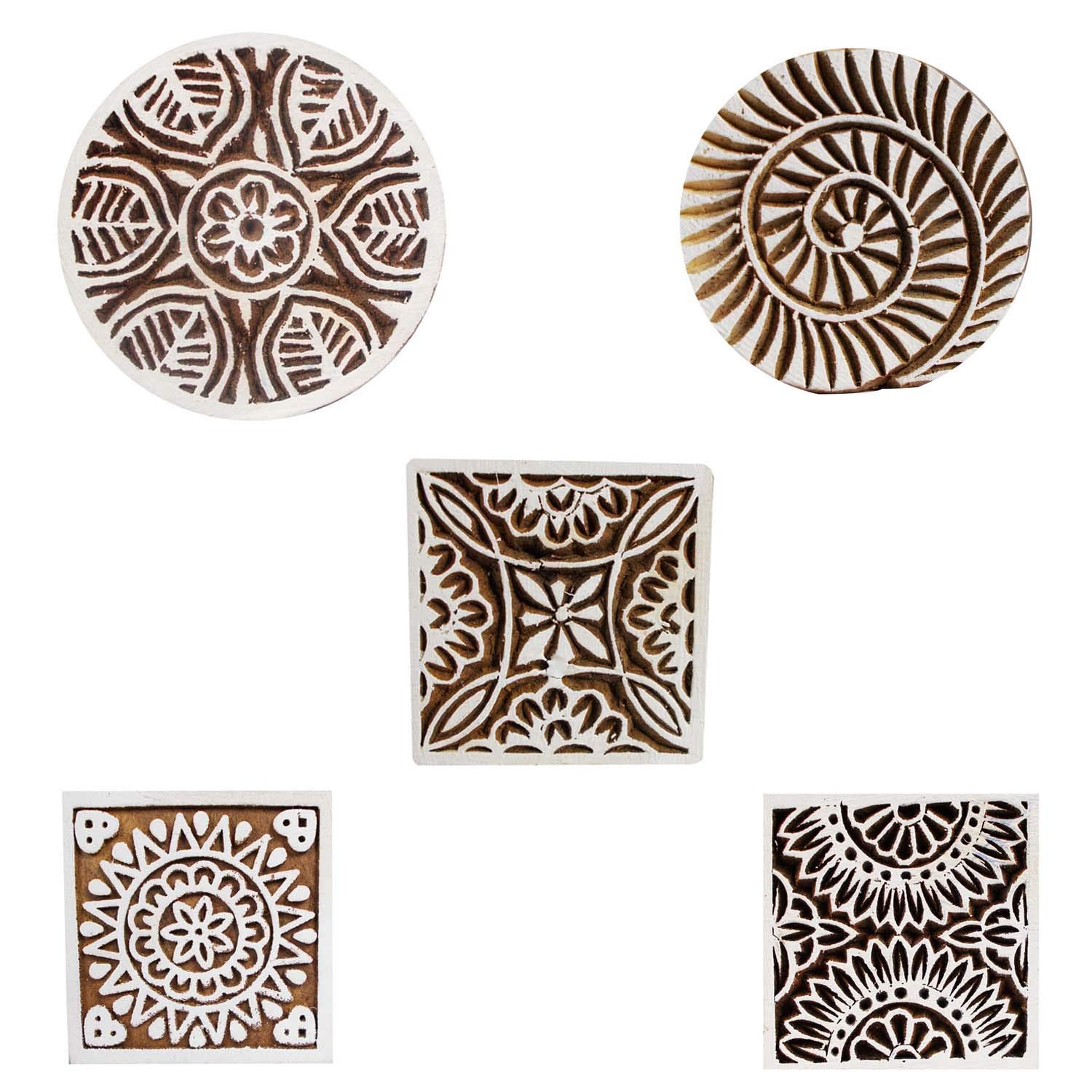Printing Block Square and Round Wooden Set of 5 Textile Apparel Fabric Scrapbook Clay Heena Tattoo Craft Stamps Blocks