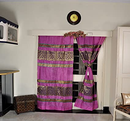 Amazon.com: Lalhaveli Tab Top Moroccan Style Silk Curtains ...