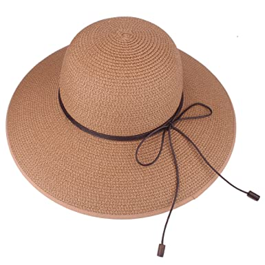 Floppy Hat Summer Beach Sun Straw Hats Anti-UV Protection Hat Travel  Packable UPF 50 a18d28c3261