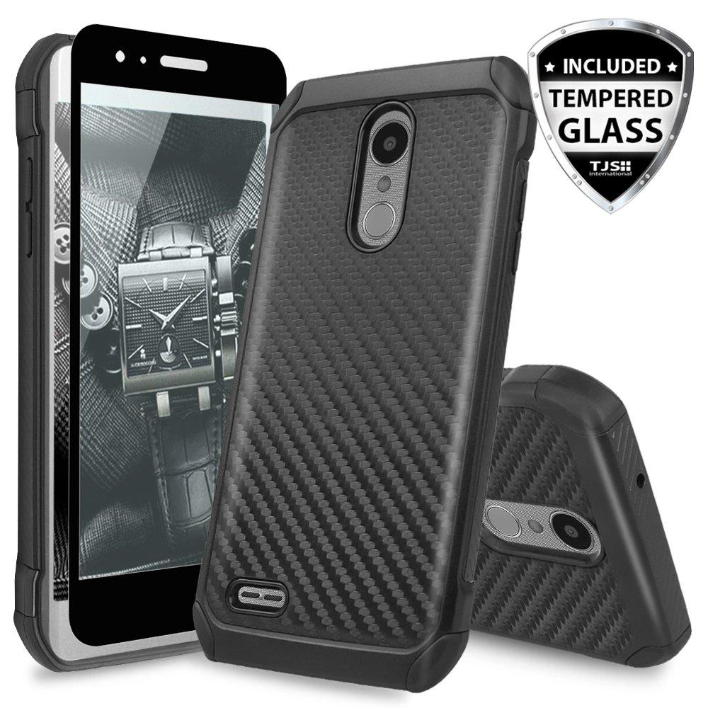 TJS Case for LG Aristo 2/Aristo 2 Plus/Aristo 3/Aristo 3 Plus/Tribute Dynasty/Tribute Empire/Fortune 2/Rebel 3 LTE [Full Coverage Tempered Glass Screen Protector] Hybrid Carbon Fiber Phone (Black)