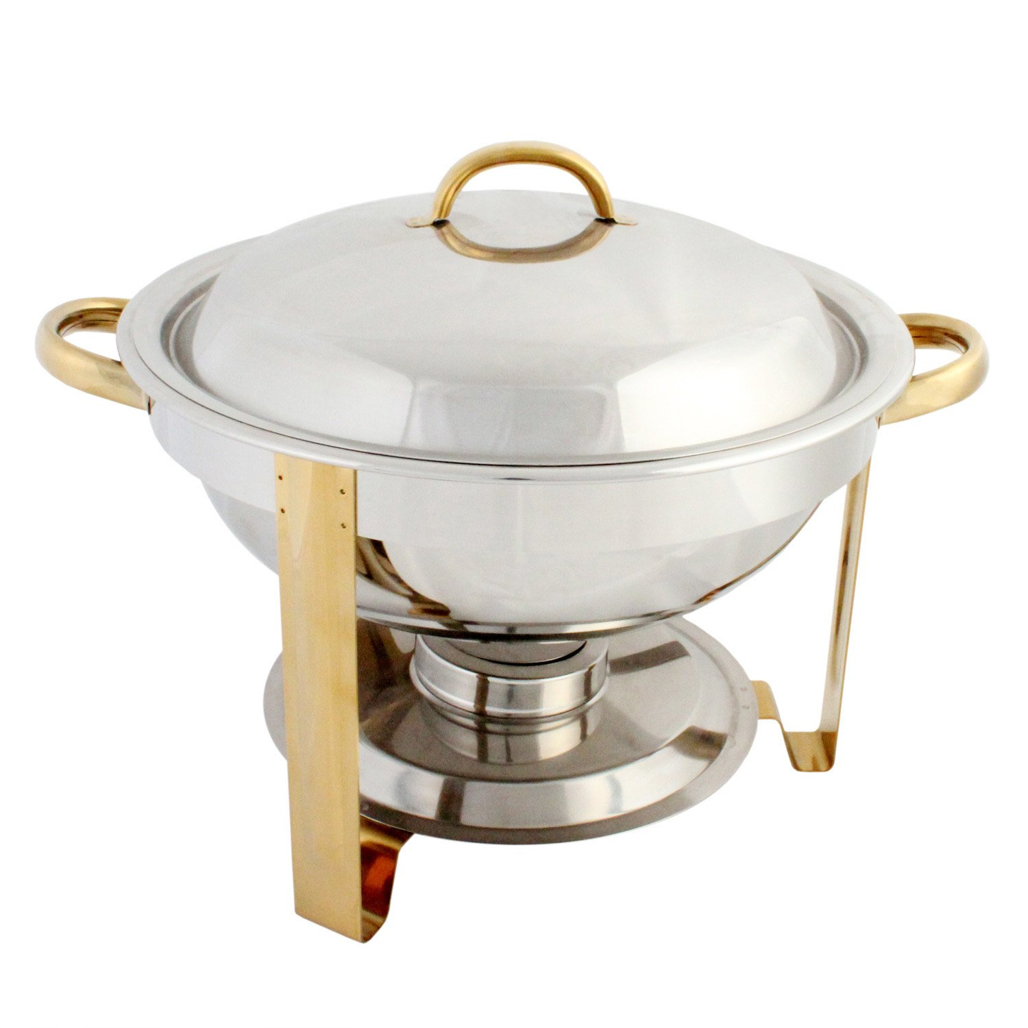 Excellante Stainless Steel 4-Quart Gold Accented Round Chafer Thunder Group SLRCF0831GH
