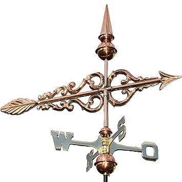 Linne Born 3d Veleta, gallo Diseño flecha de cobre Fijación). 55 cm de largo indicador de dirección del viento de viento para techo: Amazon.es: Jardín