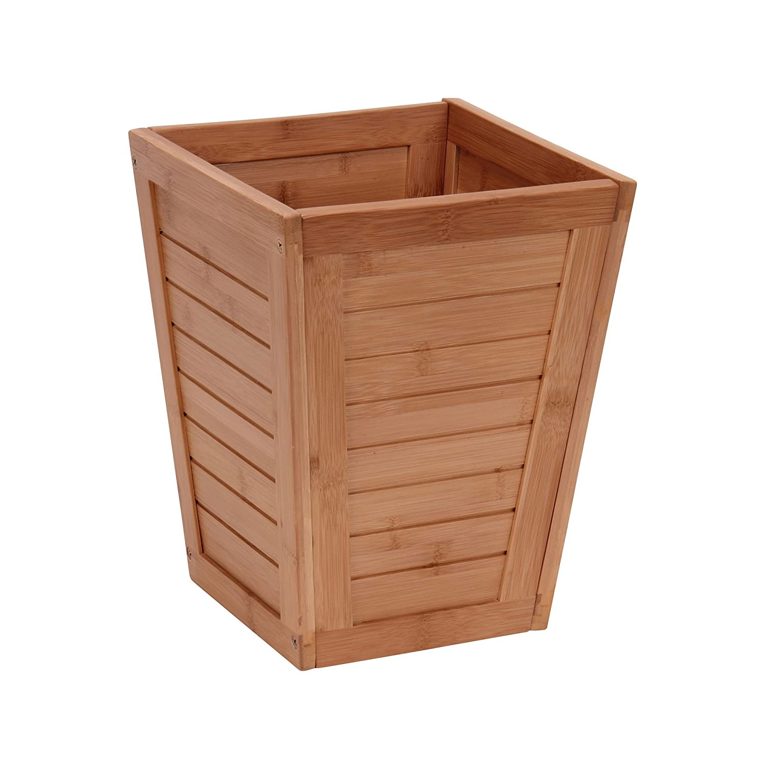 Amazon Household Essentials Bamboo Slat Trash Can Small