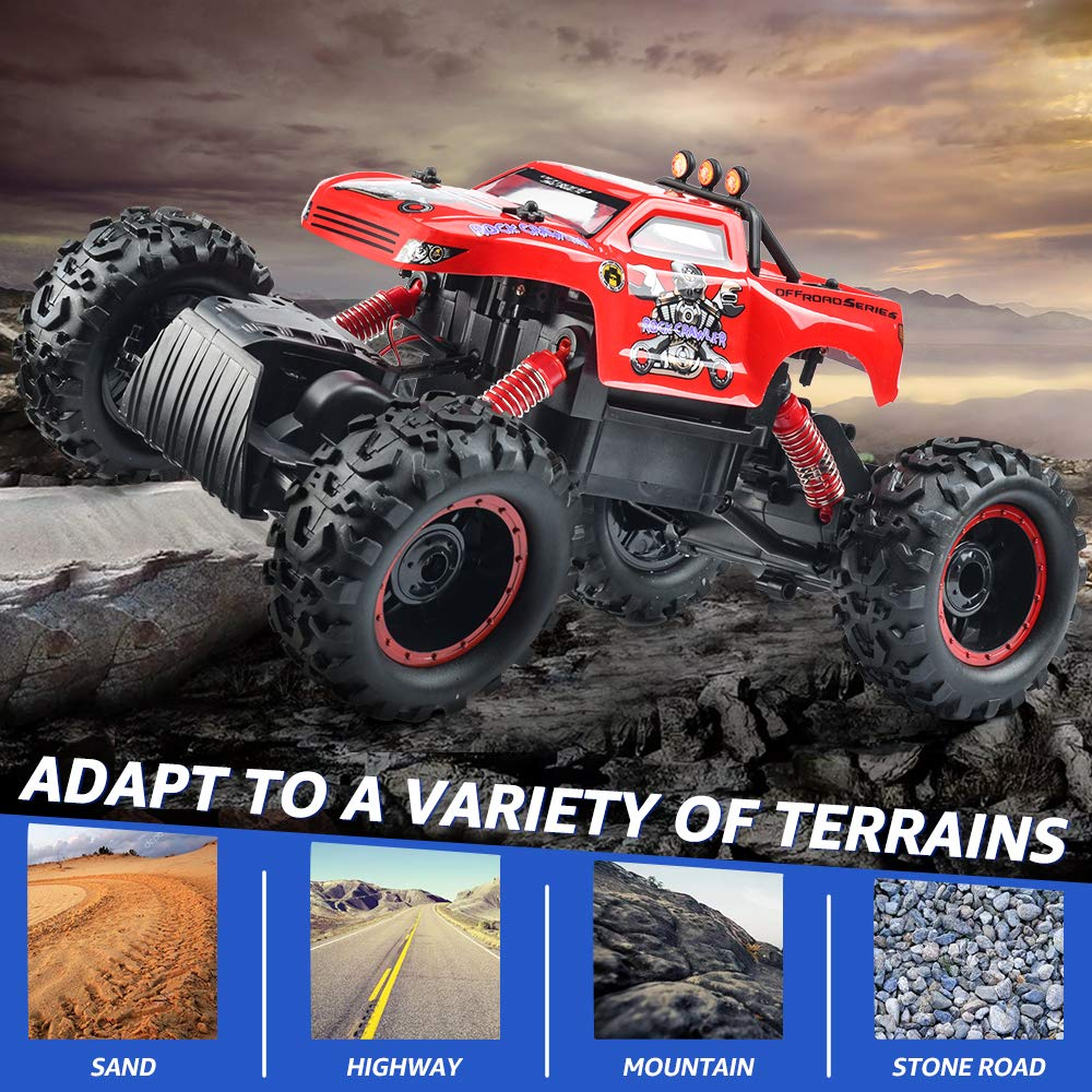 Remote Control Trucks Monster RC Car 1: 12 Scale Off Road Vehicle 2.4Ghz Radio Remote Control Car 4WD High Speed Racing All Terrain Climbing Car Toys Car Gift for Boys (Red) by NQD (Image #4)