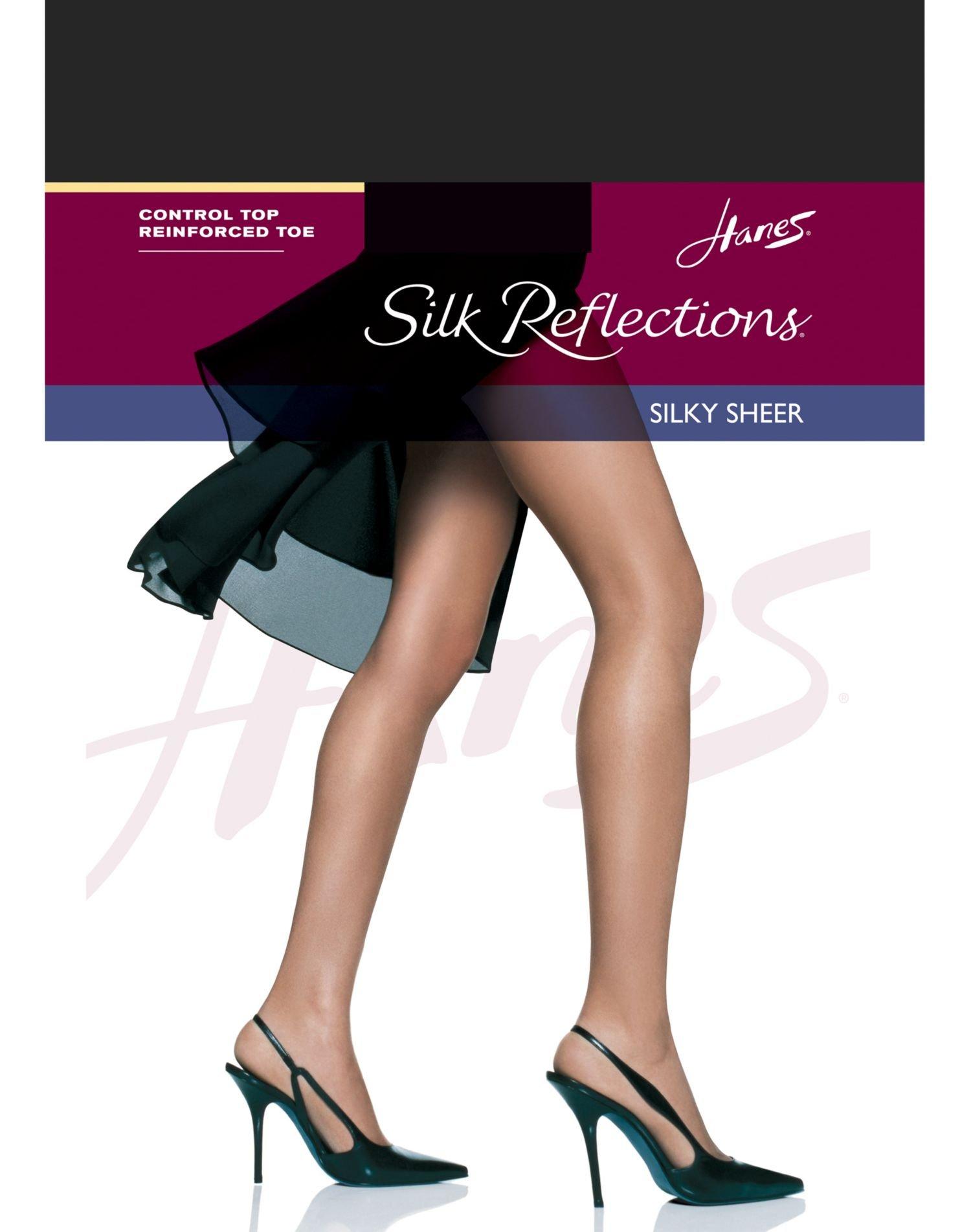 Hanes Silk Reflections Women's Silky Sheer Hosiery, Jet, CD (Pack of 3)