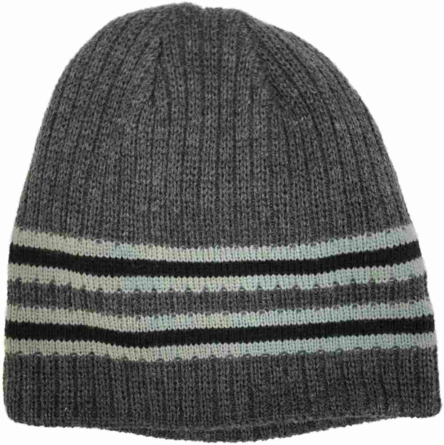 Igloos Mens Reversible Gray Stripe Ribbed Beanie Solid Grey Stocking Cap Hat