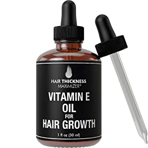 Vitamin E Oil for Hair Growth. Vegan, Unscented, Liquid Hair Grade Serum for Women and Men. No Alcohol. Great for Hair Thickening, Hair Regrowth, Scalp, and Skin. Stop Hair Loss and Hair Thinning 1oz