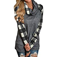 XILALU Womens Turtleneck Tops Plaid Shirts Tunic Long Sleeve Pullover Sweatshirt