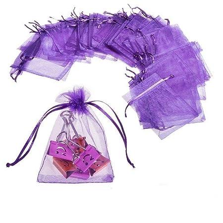 JZK® 50 Piezas Bolsas de Organza Morado para Boda cumpleaños Baby Shower Envolver Regalo Detalle,12 x 9 cm