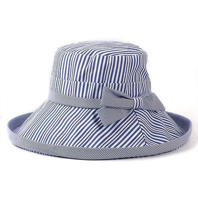 Huo Gorras Sombrero para Sol Rayas El A La Modernas Casual Moda Casquillo del Cubo De Protección Solar Turismo Al Aire Libre Gorra De Playa Plegable (Color: ...
