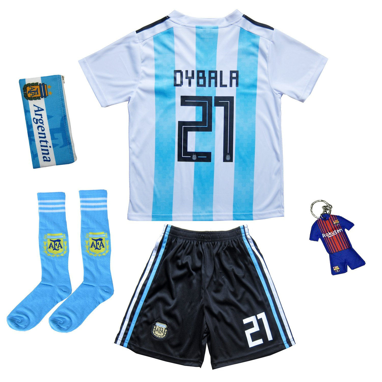 new arrival 6c1a3 3db8e KID BOX 2018 Argentina Paulo Dybala #21 Home Soccer Kids ...