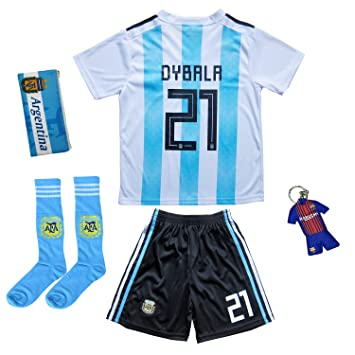 87a30339978 KID BOX 2018 Argentina Paulo Dybala  21 Home Soccer Kids Jersey   Short Set  Youth