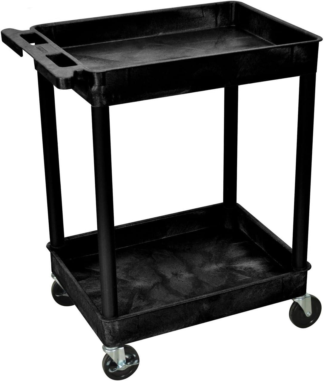 Luxor 2 Shelf Rolling Utility Cart w/ Heavy Duty Casters - Black