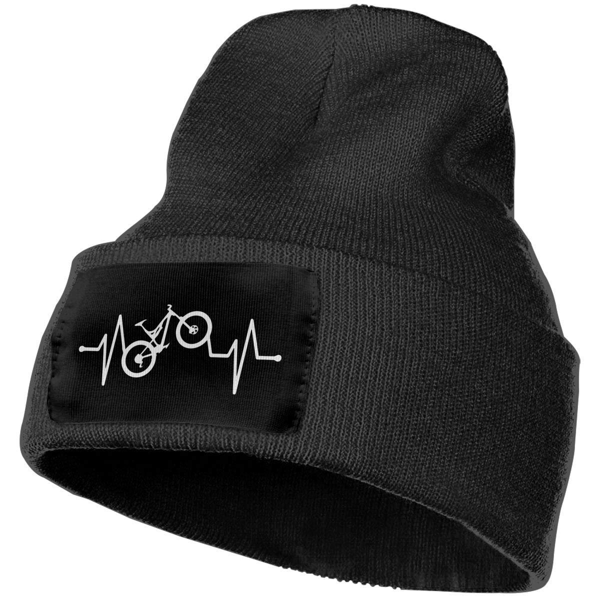 Men//Women Mountain Bike Heartbeat Outdoor Warm Knit Beanies Hat Soft Winter Skull Caps