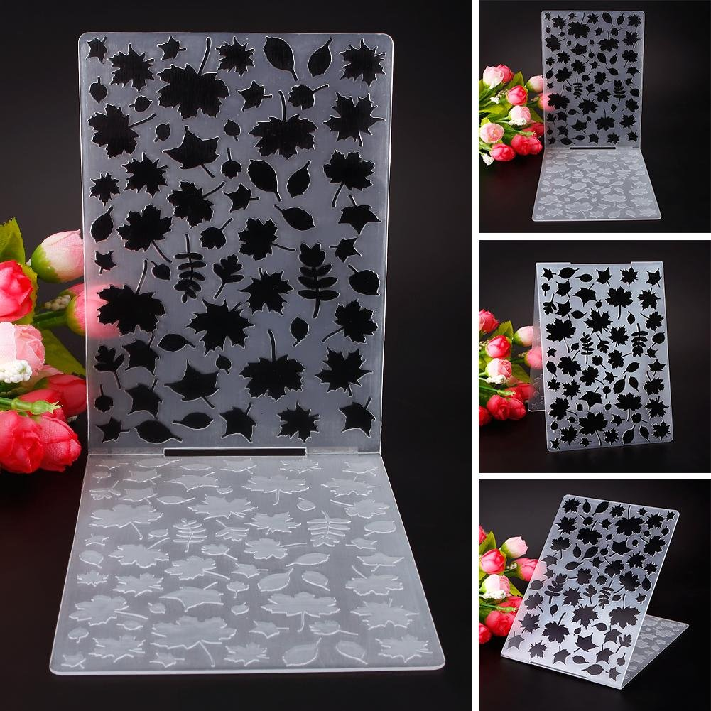 ZHUOTOP Simple Design Maple Leaf Pattern Plastic Embossing Folders for DIY Card Making Decoration Supplies