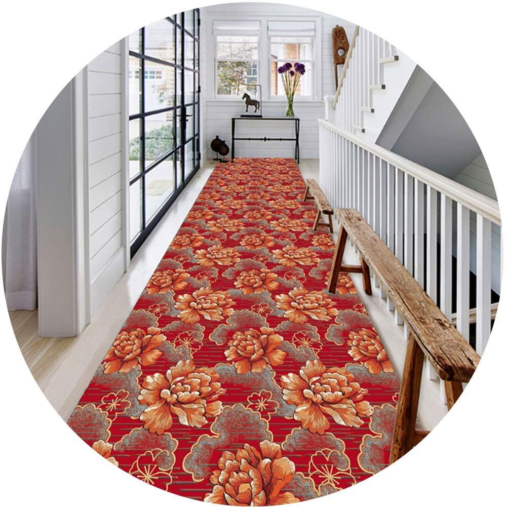ZHWEI じゅうたん 廊下のカーペットロング ランナー ラグ 滑り止め 廊下敷きカーペッ 通路 エントランス 敷物 フロアマット赤 フラワーズ 設計 現代の 家庭 通路 エントランス 洗える、 複数のサイズ (Color : A, Size : 1x5m) B07SX97RKQ A 1x5m