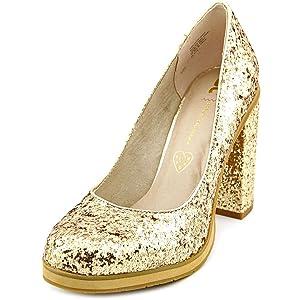 BC Footwear Turf Women Open Toe Synthetic Gold Platform Heel