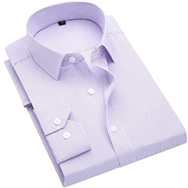 bba185a637 DOKKIA Men's Casual Long Sleeve Vertical Striped Slim Fit Dress Shirts  (Purple White, X