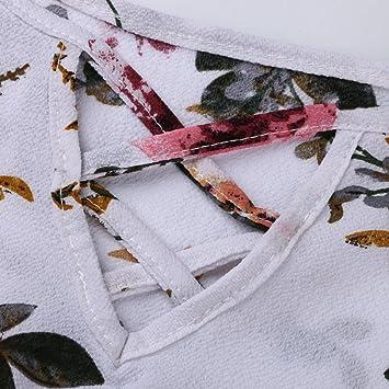 Camiseta sin tirantes floral gasa de mujer,Ba Zha Hei Nueva Blusa de Mujer Camisetas de Manga Corta con Cuello Redondo Camiseta Suelta a Rayas Vestido sexy ...
