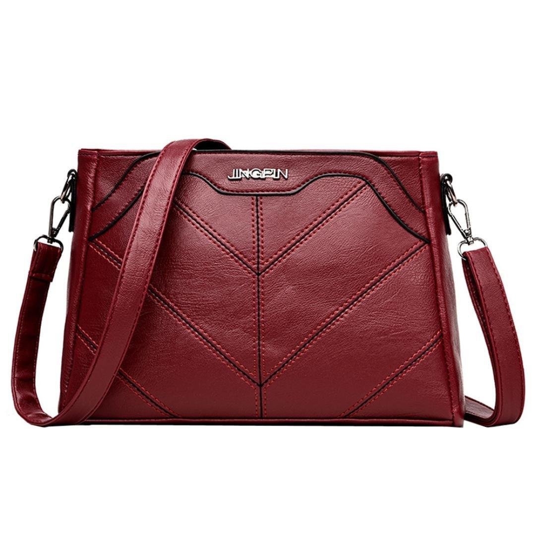YJYDADA Fashion Women Pure color Leather Crossbody Bags Messenger Shoulder Bag (Red)