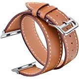V-MORO Compatible 38mm 40mm Double Tour Leather Band for Apple Watch Series 4 Series 3 Series 2 Series 1 - Brown