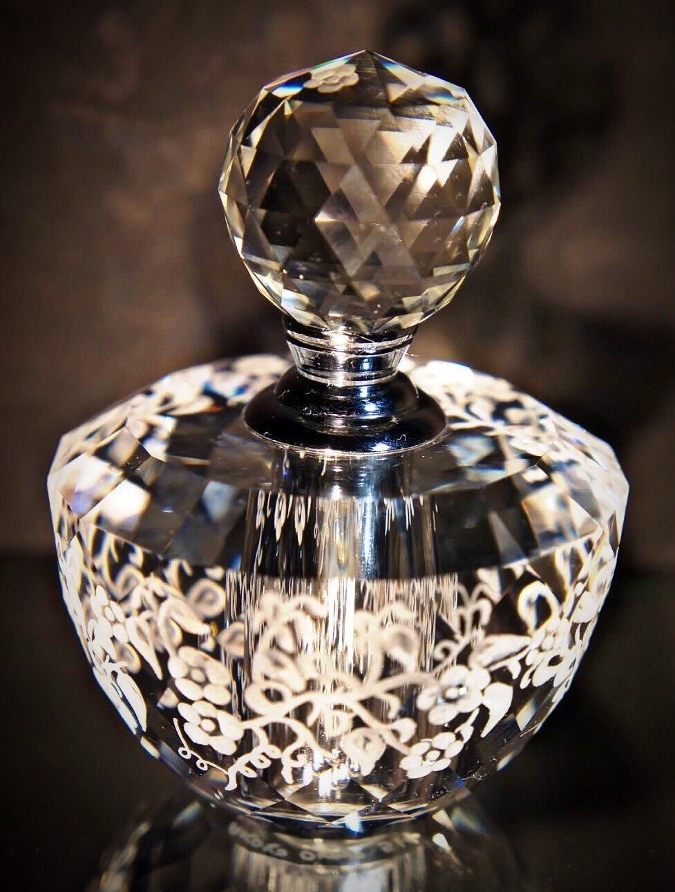 Hand Engraved crystal perfume Bottle engraved with Flowers, Crystal Perfume Bottle Floral, Vanity, Mothers Day Gifts, Bridal Gifts