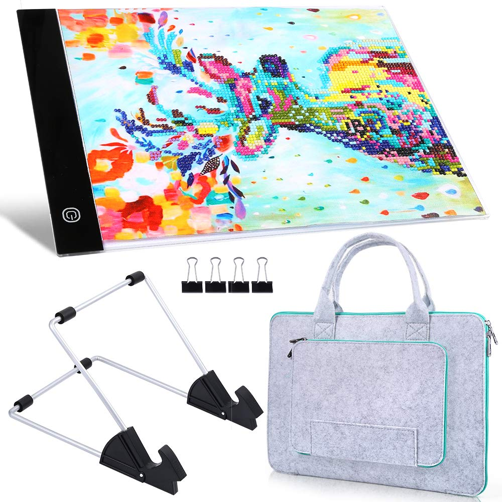 PP OPOUNT Diamond Painting A4 5D LED Light Pad Set Including Polyester Felt Hand Held Case Bag, A4 LED Light Pad, Stand Holder and Black Pad Clip for DIY Art Craft Diamond Painting Sketching