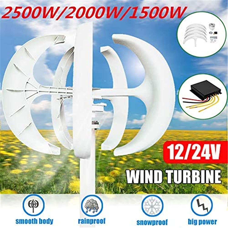 RDJM Turbina eólica 1500W / 2000W / 2500W turbinas de Viento Generator Controller + 12V24V 5 Cuchillas Linterna de Eje Vertical for Uso residencial Farola del hogar (Color : 2000W, Size : 24V)