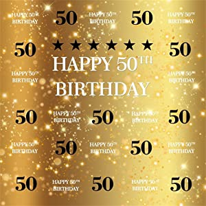 CSFOTO 8x8ft Happy 50th Birthday Backdrop Black and Gold Theme Fifty Birthday Party Background for Photography Gold Black 50th Birthday Party Decor Banner