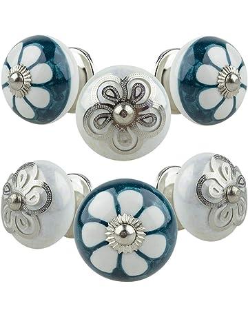 10/Bleu et blanc peint /à la main en c/éramique Boutons Cabinet tiroir tirer Poign/ées par Zoya de Lot de 10/boutons