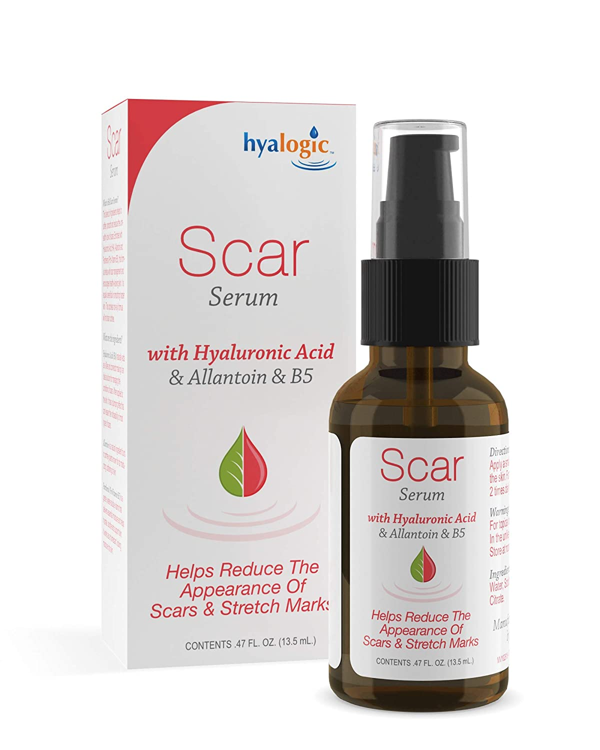 Hyalogic Scar Serum for Body–w/Hyaluronic Acid, Allantoin & B5 Panthenol—Cruelty-Free, Non-Oily, Odorless—Reduces The Appearance of Scars & Stretch Marks (0.47 fl. oz.)