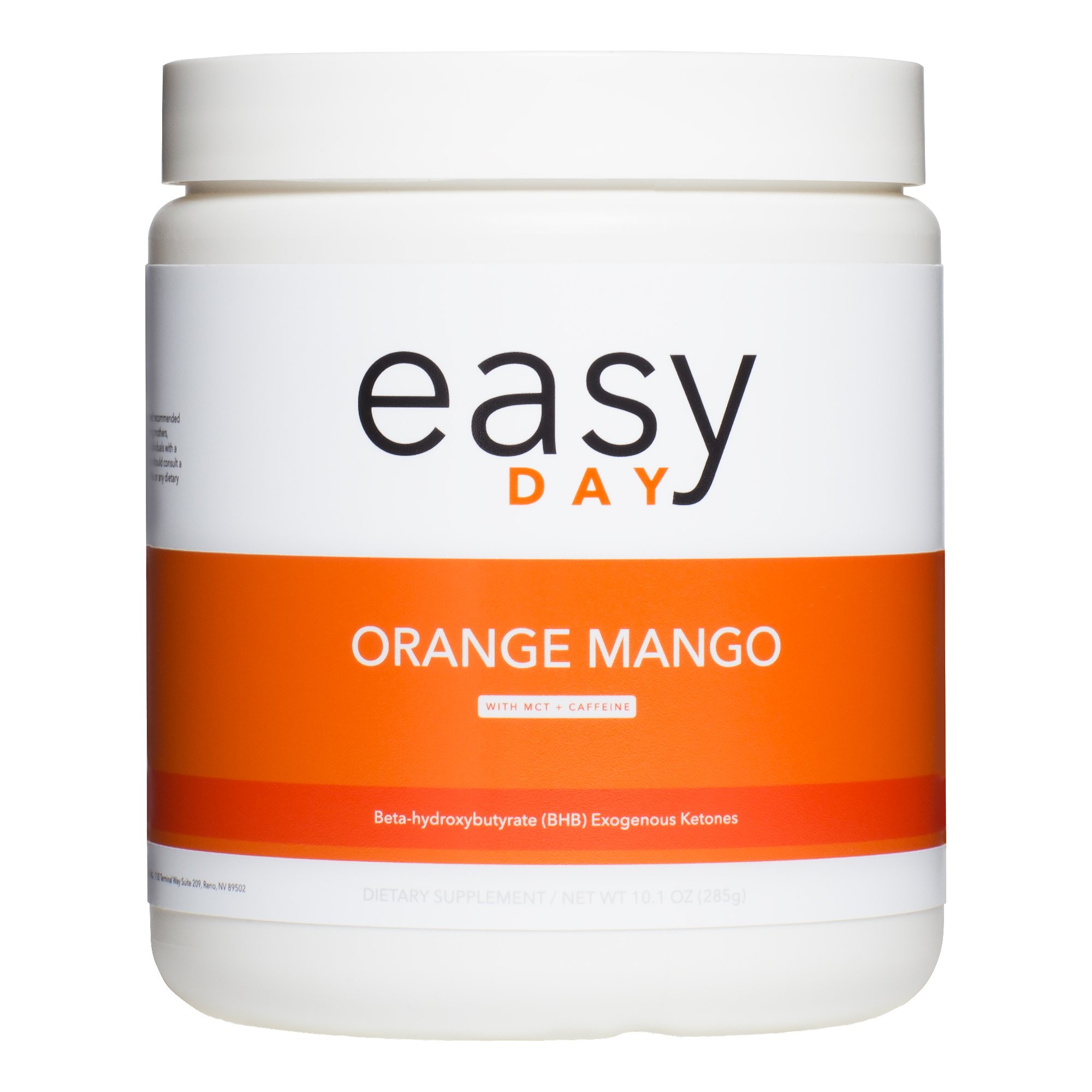 Easy Day Keto- BHB Salts + MCT Oil + Caffeine. Exogenous Ketone Supplement. Perfect To Enter and Maintain Ketosis. Increase Energy, Focus & Burn Fat 10.1 oz. (Orange Mango)