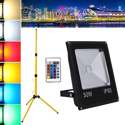 Hengda® 50W RGB Foco LED Foco proyector + Teleskop trípode del Jardín al Aire Libre