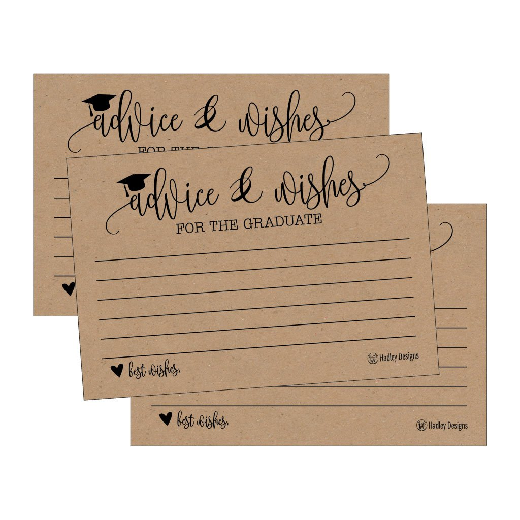 25 Rustic Graduation Advice Words of Wisdom Cards For Graduate Class of 2018 College, High School, University Grad, Funny Black and Gold Party Games, Presents, Activities Keepsakes for 4x6 photo album