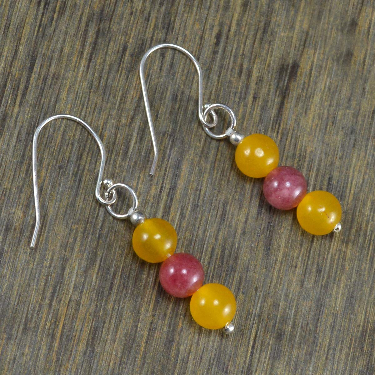 Saamarth Impex Yellow /& Pink Quartz Gemstone 925 Sterling Silver Dangle Earring PG-105370