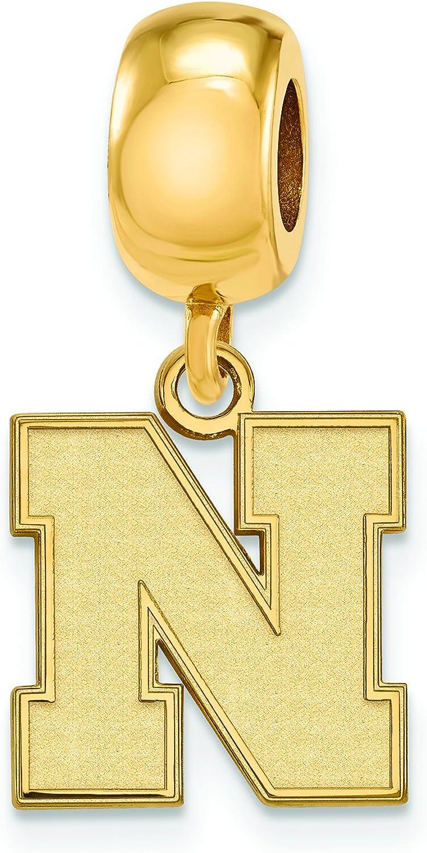 Gold Plated Nebraska Small Bead Charm 1//2 Inch